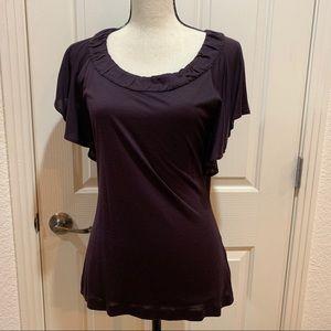 BR Ruffled Tee Dark Purple Like New Top Silk Small